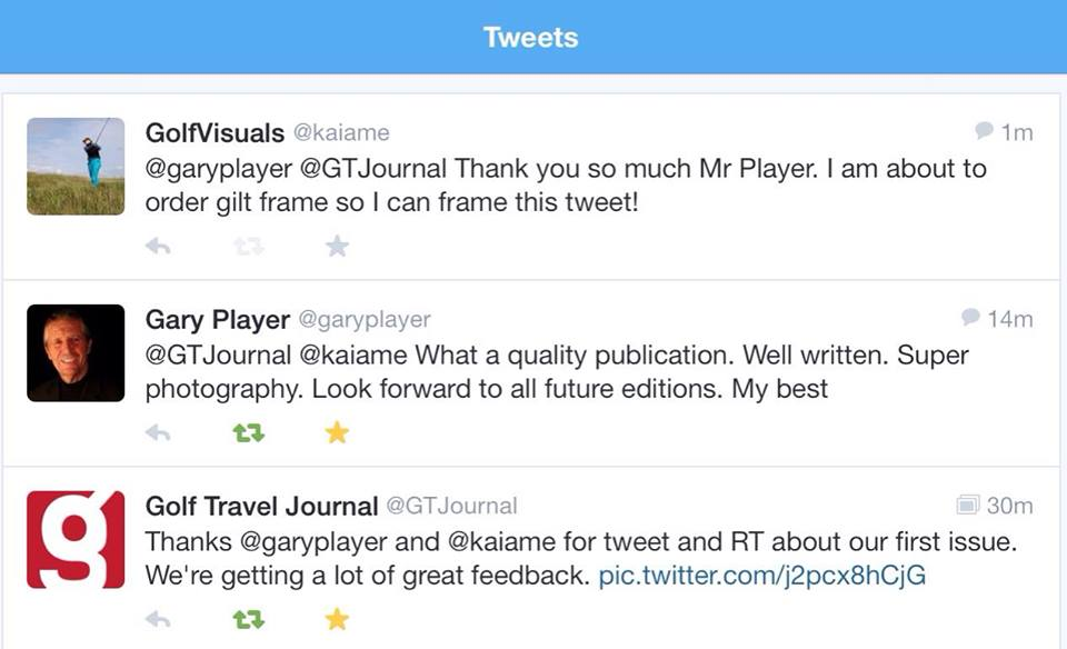 Gary Player tweets about us!